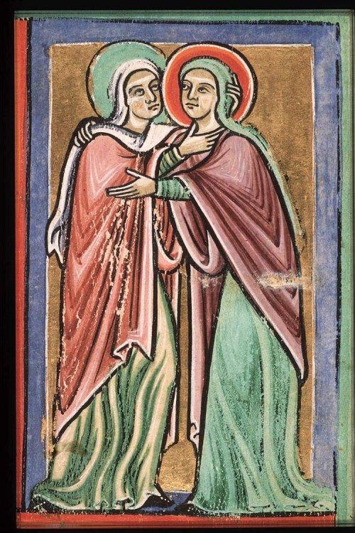 la Visitation, évangéliaire de Saint-Bertin, 12ème siècle